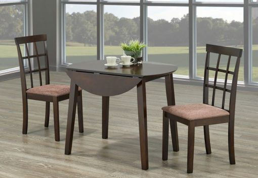 Image depicts the 3-Piece Toronto Adjustable Espresso Round Table which includes one dining table and two chairs.