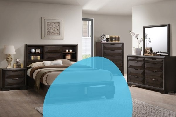 Image depicts bedroom furniture in a Saint John home, including a bed, dresser, chest, night stand, and mirror.