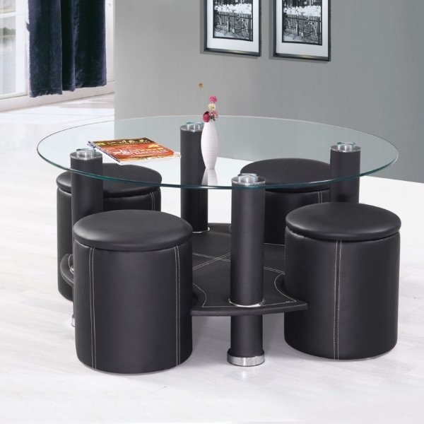 Image depicts a modern coffee table with four stools.