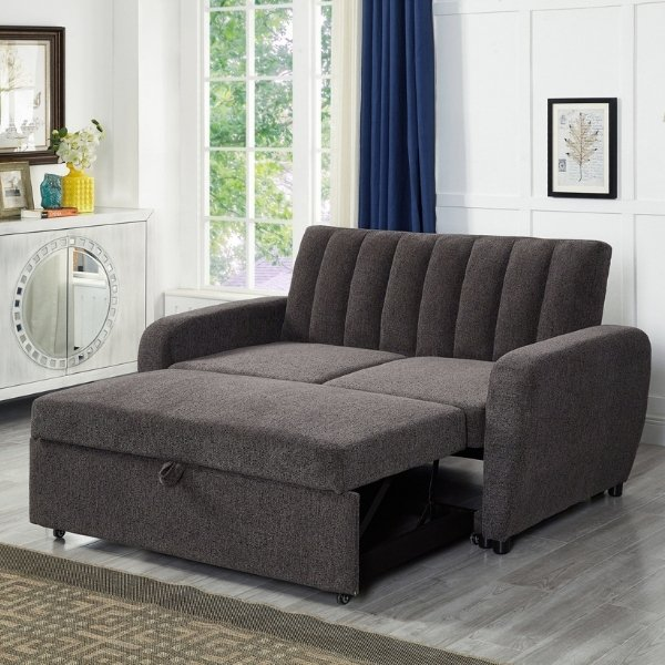 Image depicts a brown two-seater sofa bed from Dani's Furniture.