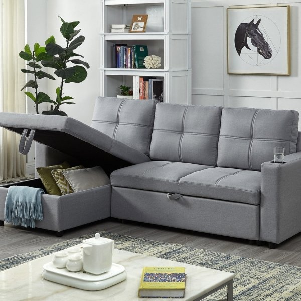 Image depicts a new grey sectional sofa from a sectional sofas store.