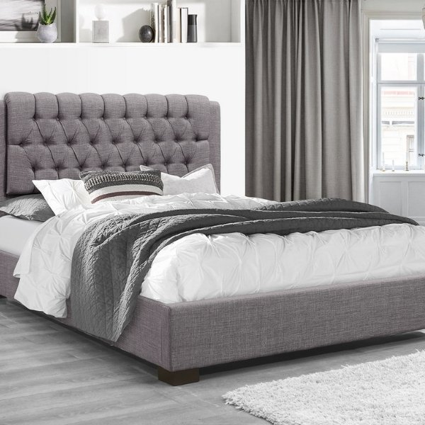 Image depicts a new bed with a mattress from Dani's Furniture.