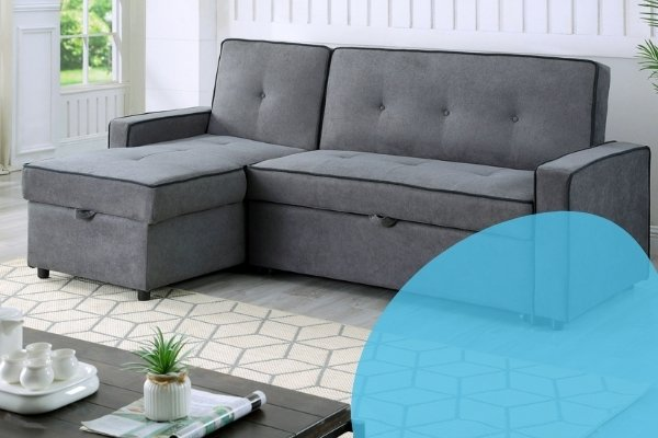 Image depicts a grey sofa bed from Dani's Furniture.