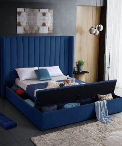Yasmine Storage Platform Bed Blue