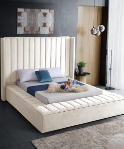 Yasmine Storage Platform Bed Cream