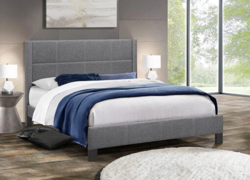 Affordable Stylish Fabric Platform Bed Dark Grey