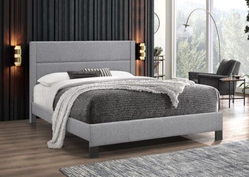 Affordable Stylish Fabric Platform Bed Light Grey
